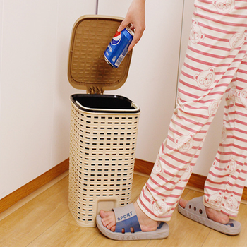 Trash can Plastic Pedal Type With Lid Storage bin With Detachable Internal Garbage Basket for Bathroom Bedroom Office 10L