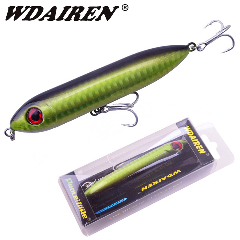 WDAIREN Bullet Head Pencil Bait 95mm 12g Top Water Floating Fishing Lures Crankbait Sea Bass Pike 3D Eyes Plastic Wobblers