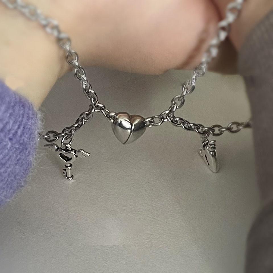 2Pcs/Set Magnet Couple Bracelets Heart Attraction Bracelet Stainless Steel Charm Jewelry Gifts Magnetic Love Bracelet