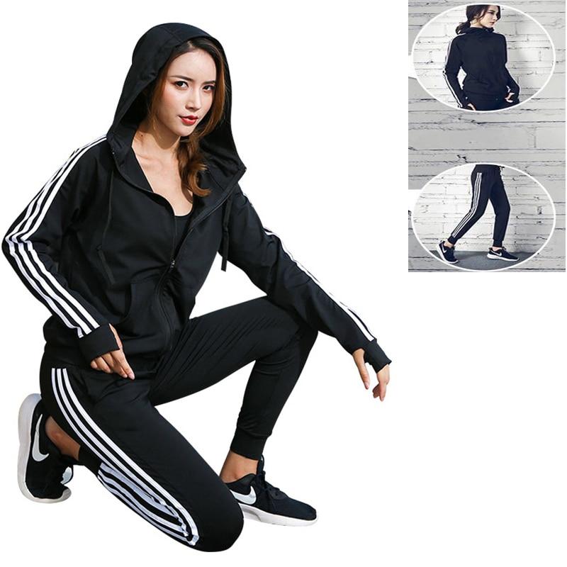 2 pcs Women Tracksuit Yoga Set Loose Sports Jacket Sweatshirt Sports Harem Pants Gym Fitness Running Jog Set Sportswear