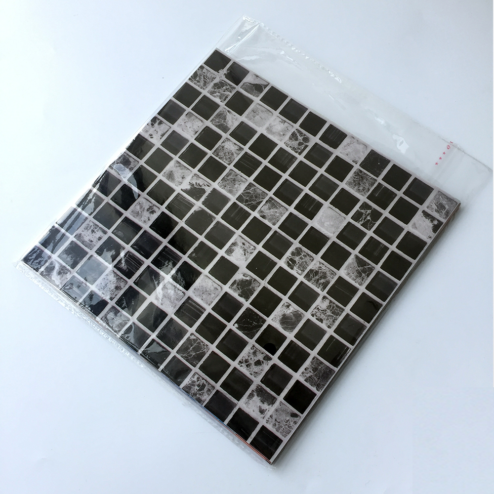 Купить с кэшбэком Funlife CUSTOM 10/15/20/25/30cm Self Adhesive Waterproof DIY Black Marble Mosaic Wall Sticker Kitchen Floor Tile Sticker 10PCS