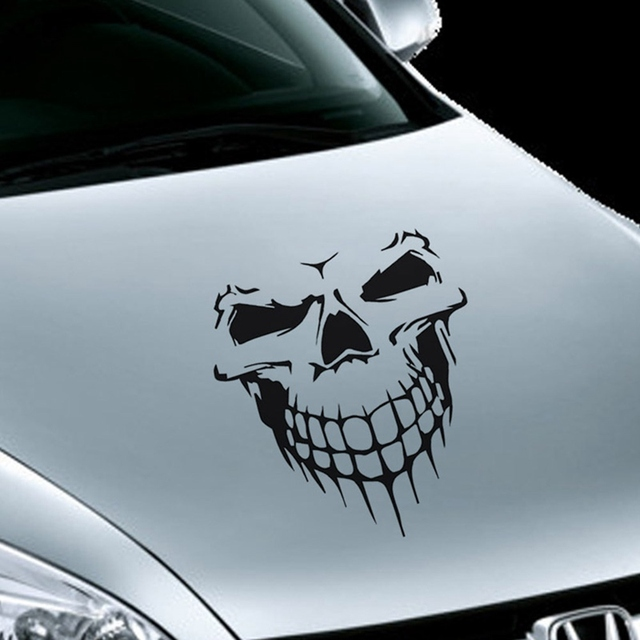 3 Size Skull Head Car Stickers And Decals Reflective Vinyl Car Styling Auto Engine Hood Door Window Car Decal