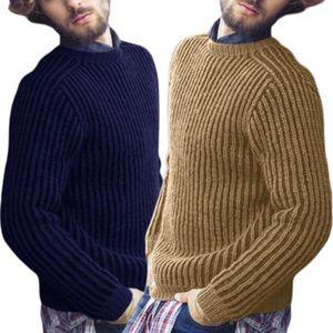 Image 5 - Masculino plus size inverno manga comprida pulôver camisola com nervuras de malha ajuste fino cor sólida em torno do pescoço casual streetwear topos M 3XL