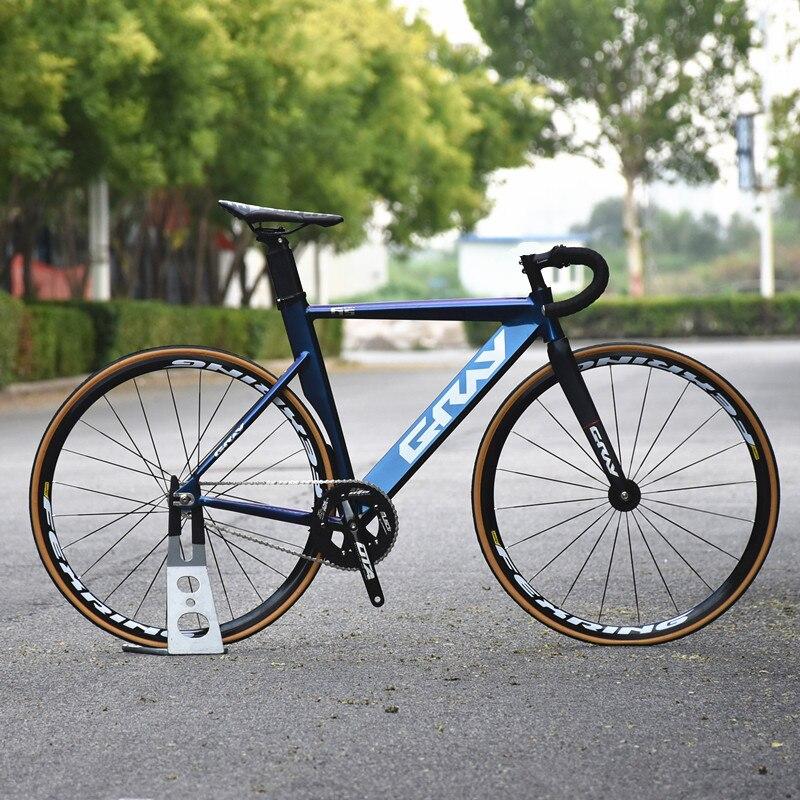 Серый велосипед с фиксированной передачей 48 см 52 см 55 см Односкоростной велосипед с рамой из алюминиевого сплава Карбоновая вилка 700C плоски...
