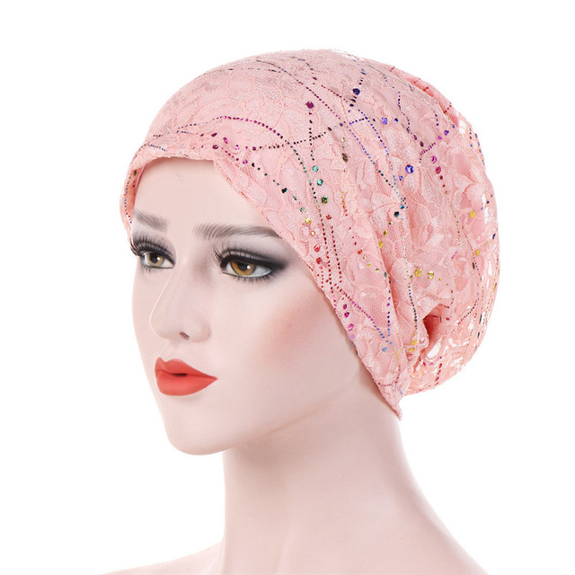 Women Elastic Turban Muslim Lace Hijab Islamic India Caps Beads Chemo Caps Ladies Hijab Scarf Headwraps Muslim Turban