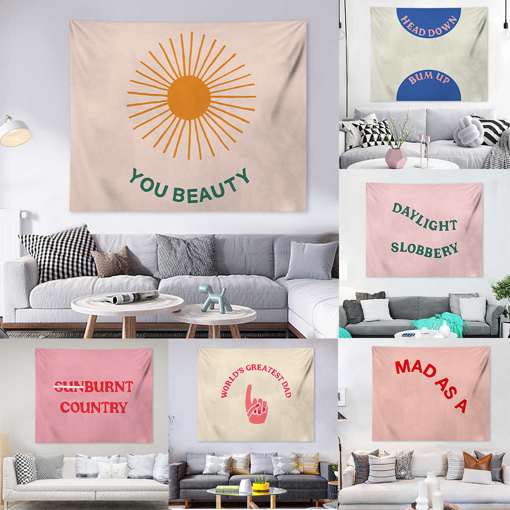 Quotes Tapestry Letters Wall Tapestry Nordic Wall Hanging Decorative Chambre Fille Creative Picnic Blacket