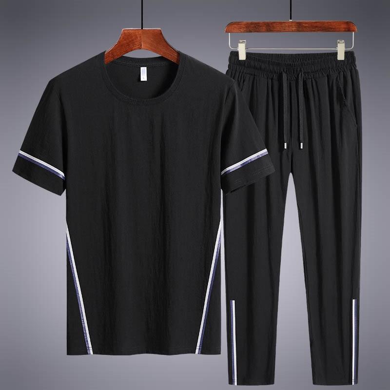 Men's Sets T Shirts+Long Pants Two Pieces Sets Casual Tracksuit New Summer Male Sportswear Suit Plus Size 7XL 8XL