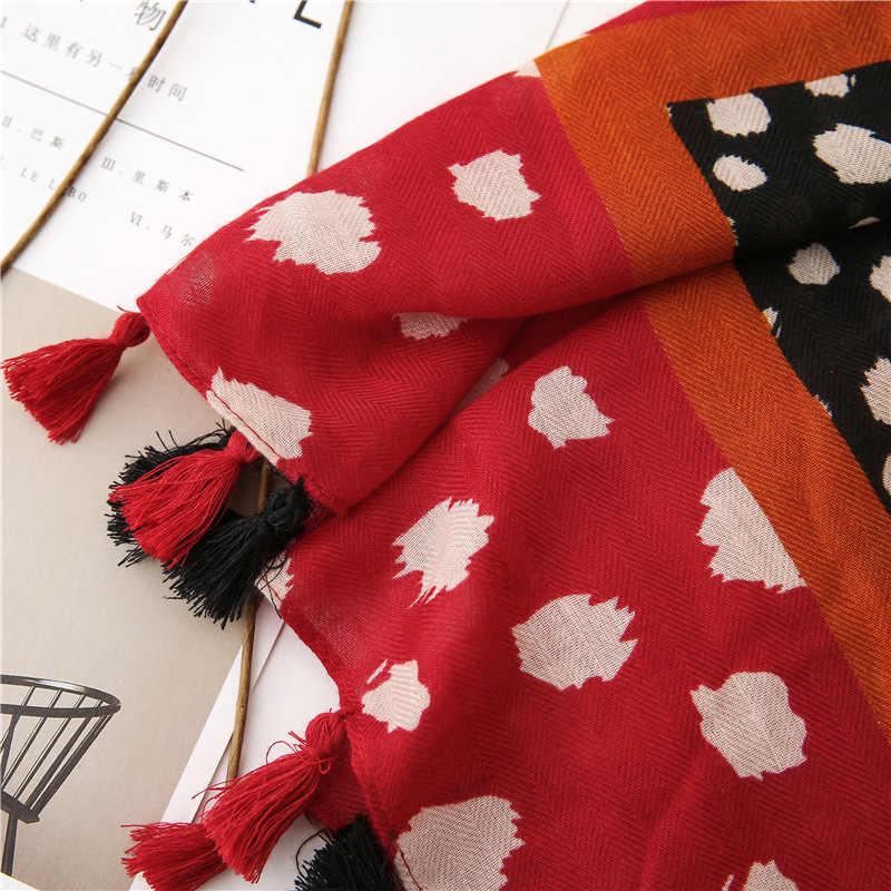 KYQIAO шарф женский vintage lunga rosso nero del leopardo di inverno delle donne della sciarpa di SPAGNA STILE sciarpa lunga della stampa Sjaal Musulmano Hijab Snood