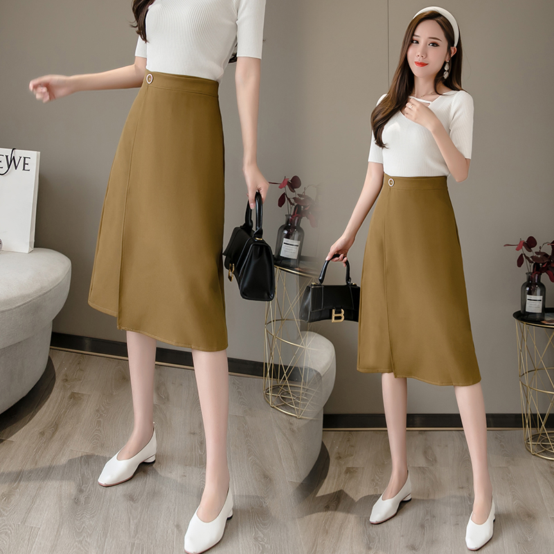 Women Skirt 2020 Spring New Skirt Fashion High Waist A-line Skirt Temperament Hip Skirt Female Solid Color Medium Long Skirt
