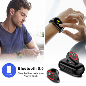 """Image 4 - Spor akıllı saat 0.96 """"M1 AI Bluetooth kulaklık ile nabız monitörü bileklik uzun bekleme süresi kablosuz kulaklık"""