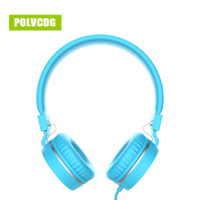 POLVCDG Blue HIFI Music Headphones Microphone Noise Cancelling Headsets DJ Earphone Stereo Computer Mobile MP3 Wired Headset