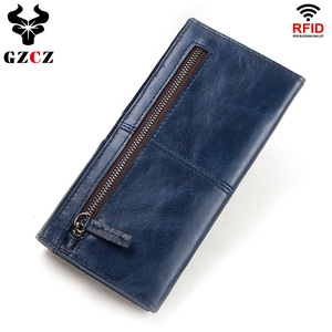 Image 2 - 100% Genuine Leather Women Clutch Wallet Female Coin Purse Portomonee Clamp For Phone Bag Card Holder Handy Passport Holder Blue