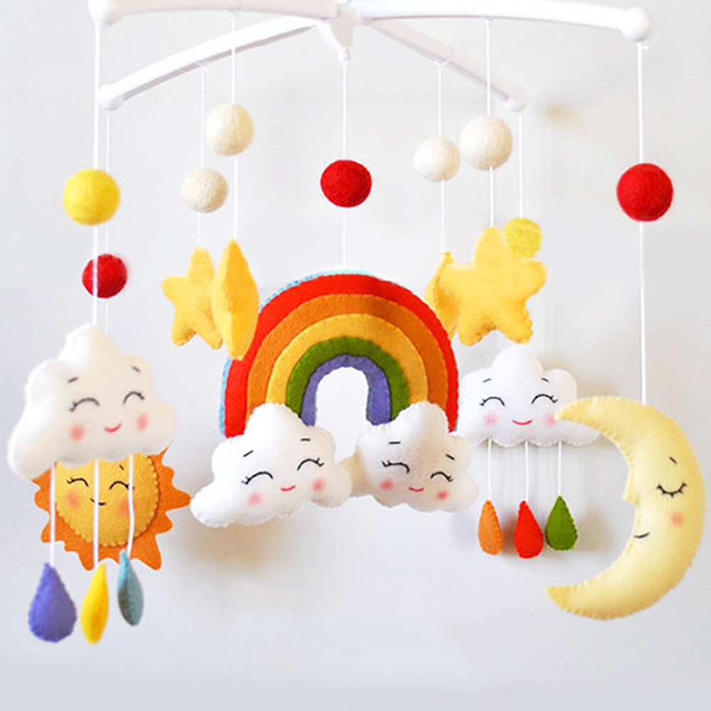 Baby Rattles Toys Cartoon Pregnant DIY Handmade Material Package Baby Crib Holder Rattle Bracket Clockwork Musical Bed Bell Toy