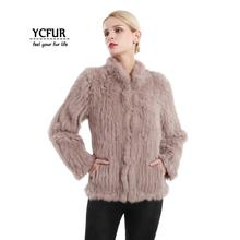 YCFUR Real Fur Coats Jackets for Women Knitted Thick Rabbit