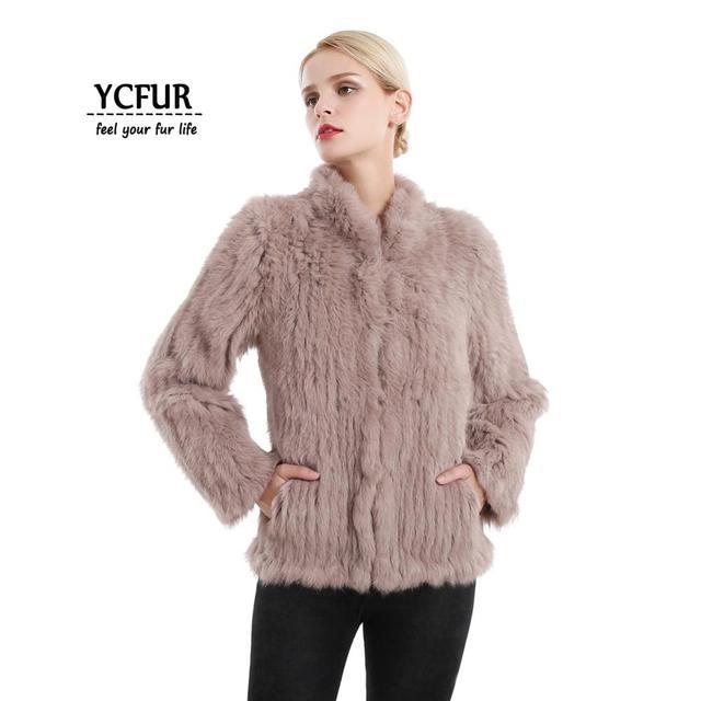 YCFUR vestes en fourrure véritable pour femmes, veste en fourrure de lapin épaisse tricotée pour femmes, veste dhiver pour femmes