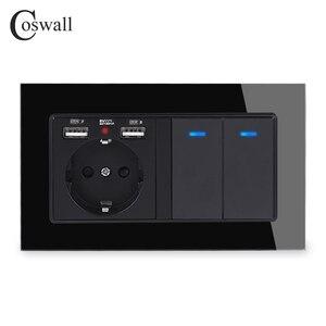Image 2 - COSWALL Panel de cristal con indicador LED, interruptor de encendido y apagado de luz, 2 puertos de carga USB + 2 entradas, 1 vía, enchufe de pared estándar de la UE, Rusia, España