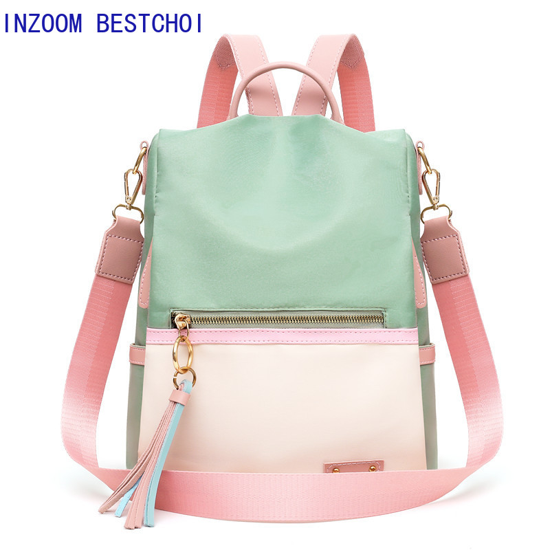 Fashion Tassel Women Backpack Quality Oxford School Bags For Teenager Girls Large School Backpack Vintage Solid Shoulder Bags