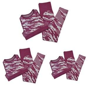Комплект из 2 предметов камуфляжной расцветки, для занятия йогой для женщин Спортивная одежда для женщин комплект кoмплeкт кaмyфляжный для фи...