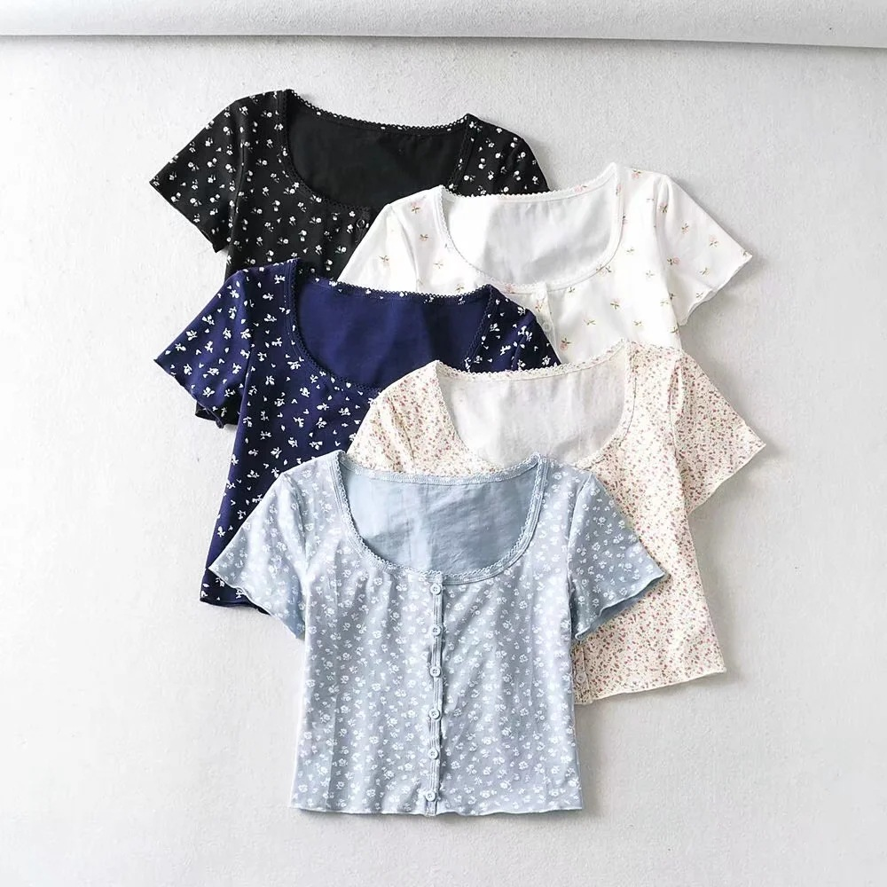 Crop Tops Women 2020 Retro O-neck Printed Short-sleeved T-shirt Slim Ear-trimmed Floral Single-breasted Brandy Melville Cardigan