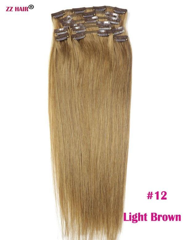 Chocola, бразильские волосы remy на всю голову, 10 шт. в наборе, 280 г, 16-28 дюймов, натуральные прямые человеческие волосы для наращивания на заколках - Цвет: #12