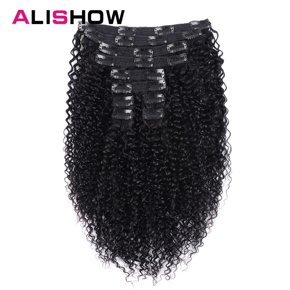 Alishow Human-Hair-Extensions Weave Remy-Hair Afro Curly Ship-Free Clip-In Kinky Indian title=