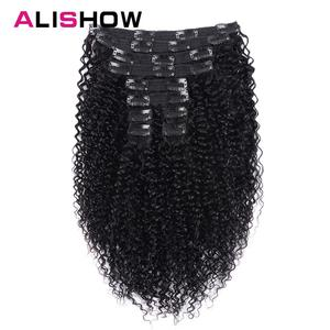 Image 1 - Alishow Indian Afro Kinky Curly Weave Remy Hair Clip In Human Hair Extensions Natural Color Full Head 10Pcs/Set 120G Ship Free