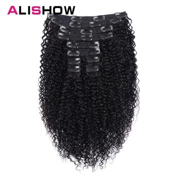 Alishow Indian Afro Kinky Curly Weave Remy Hair Clip In Human Hair Extensions Natural Color Full Head 10Pcs/Set 120G Ship Free