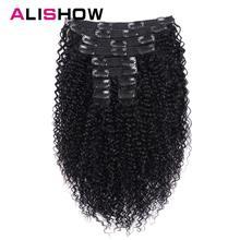 Alishow indien Afro crépus bouclés armure Remy pince à cheveux dans les Extensions de cheveux humains couleur naturelle pleine tête 10 pièces/ensemble 120G bateau gratuit