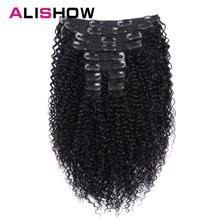 Alishow הודי אפרו קינקי מתולתל מארג רמי שיער קליפ שיער טבעי הרחבות טבעי צבע מלא ראש 10 יח\סט 120g ספינה חינם