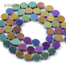 Natural Stone Flat Round Smooth Multicolor Hematite Beads For Jewelry Making 6-10mm Charm Spacer DIY Necklace Bracelet 15
