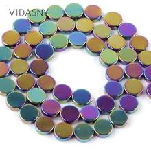 "Natural Stone Flat Round Smooth Multicolor Hematite Beads For Jewelry Making 6-10mm Charm Spacer Beads DIY Necklace Bracelet 15""(China)"
