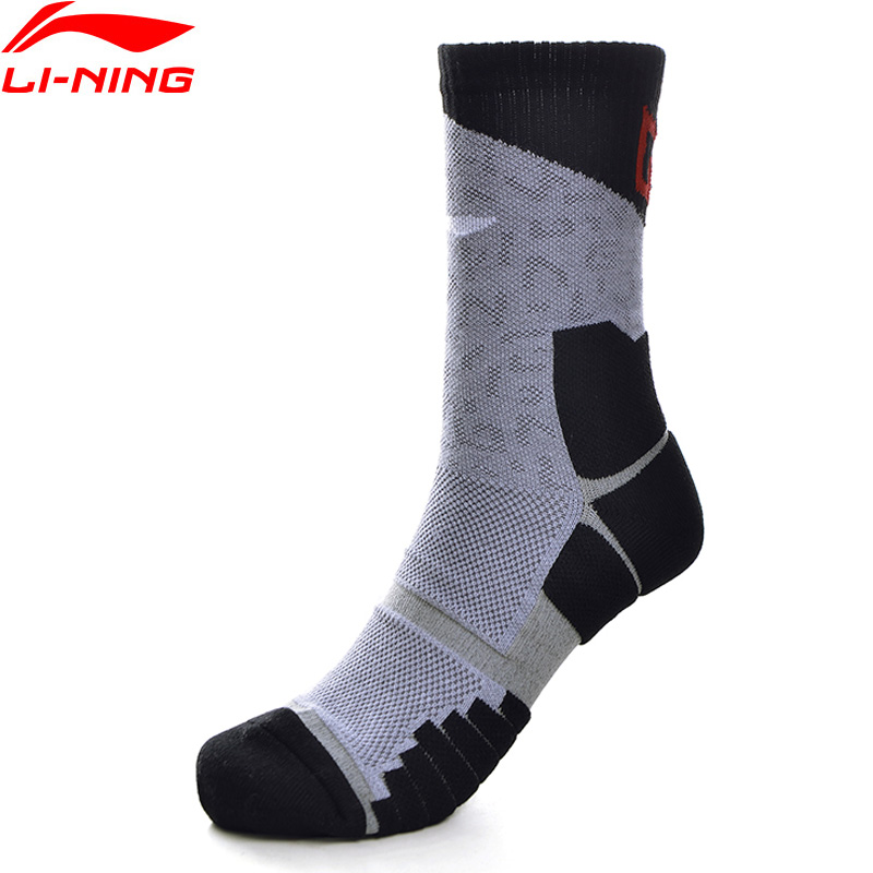 Li-Ning Men Basketball Series Socks Size 39-44 Size Cotton Chinlon Polyester Spandex LiNing Li Ning Sports Socks AWLP147 NWM473
