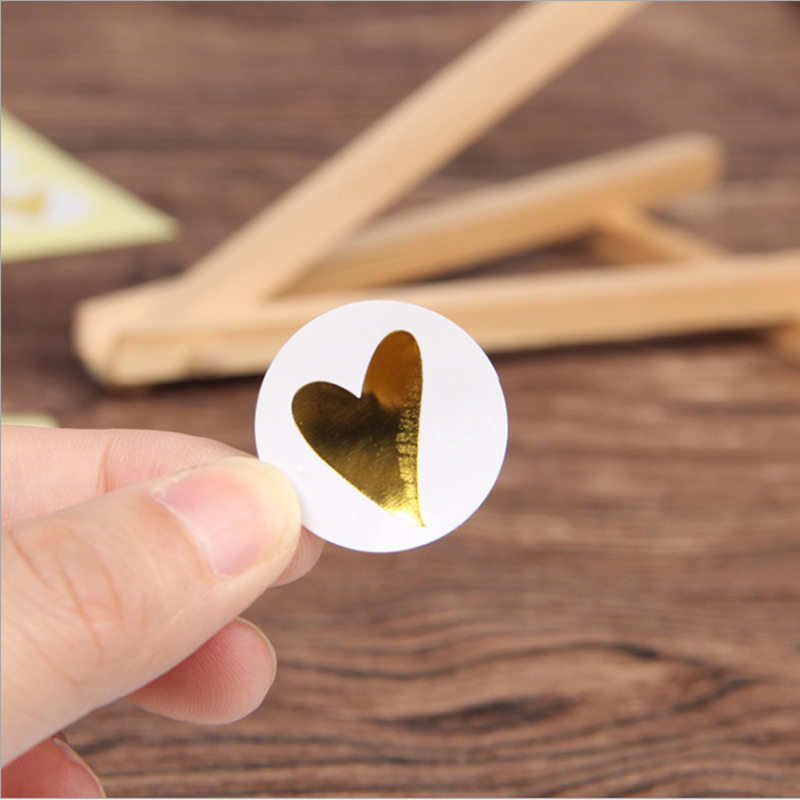 160pcs/Lot Round Bronzing Heart  Gift Seal Label Adhesive Kraft Seal Sticker For Baking Stickers Funny DIY Work