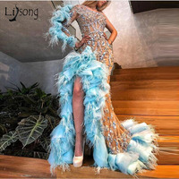 Luxury Sparkle Beaded Mermaid Prom Dresses Sexy Ruffles Feather Crystal Long Prom Gowns Champagne Formal Dress One Shoulder