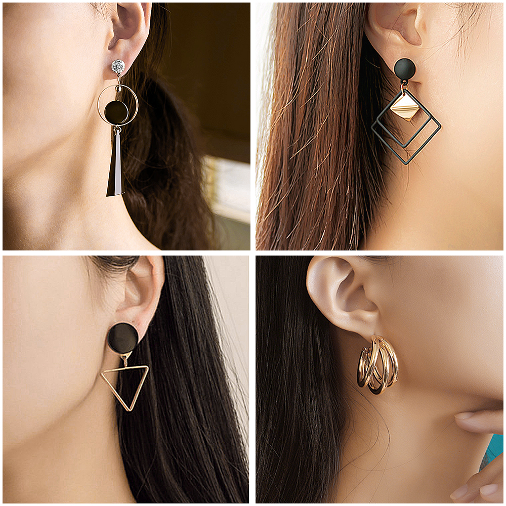 X&P New Fashion Round Dangle Drop Korean Earrings For Women Geometric Round Heart Gold Earring Wedding 2020 Earings Jewelry