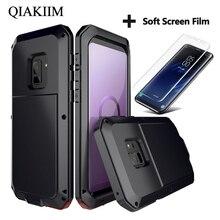 Lüks Doom zırh Metal darbeye dayanıklı samsung kılıfı Galaxy S7 kenar S8 S9 S10 artı S10e not 10 9 8 tam koruyucu kapak + Film