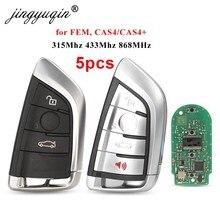 Jingyuqin 5 sztuk 315/433/868MHZ pcf7953 4B zaktualizowane inteligentny zdalny klucz Fob dla BMW F CAS4 2 3 4 5 6 7 seria X5 X6 CAS4 + FEM 2011-2017