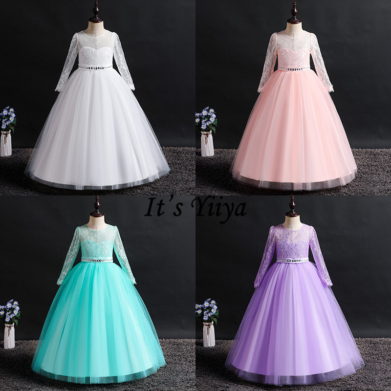 It's YiiYa   Flower     Girl     Dresses   6 Colors Elegant Long Sleeve Lace Sashes   Girls   Pageant   Dresses   Kids Party Communion   Dresses   1023