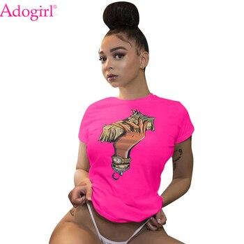 Adogirl Plus Size S-3XL Dollar Print Summer T Shirt O Neck Short Sleeve Casual Tees Women Fashion Tops Home Apparel