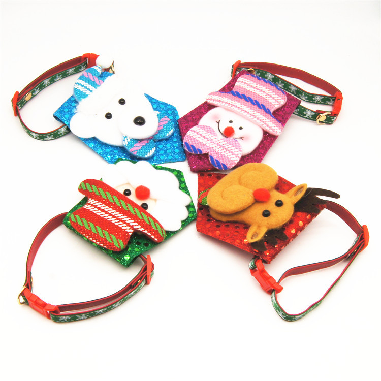 Christmas Handmade Bowtie Pet Collar Dog Traction Pet Supplies