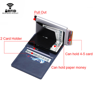 Image 3 - Rfid Cow Genuine Leather Men Wallets Card Holder Customize Mini Wallet Magic Purse Money Bag Male Thin Slim Trifold Wallet Walet