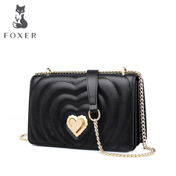 FOXER Valentine's Day present Ladies LOVE Flap Messenger Bag Elegant Female Mini Purse Cow Split Leather Crossbody Bag Quality