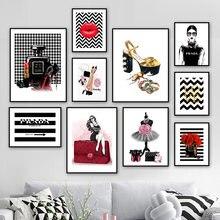 Sac à lèvres rouges avec Logo en Vogue pour fille, toile d'art mural, peinture, affiches et imprimés nordiques, images murales pour décor de salon