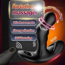 Masseur de Prostate rotatif à 360 °, vibrateur Scrotum, prise anale sans fil, télécommande, godemichet Anal, jouets sexuels érotiques pour hommes et homosexuels