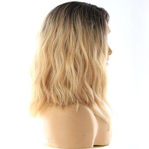 Image 3 - תחרה מול סינטטי שיער פאות X TRESS Ombre חום בלונד צבע טבעי גל צד חלק 12 קצר בוב L חלק תחרה פאה עבור נשים