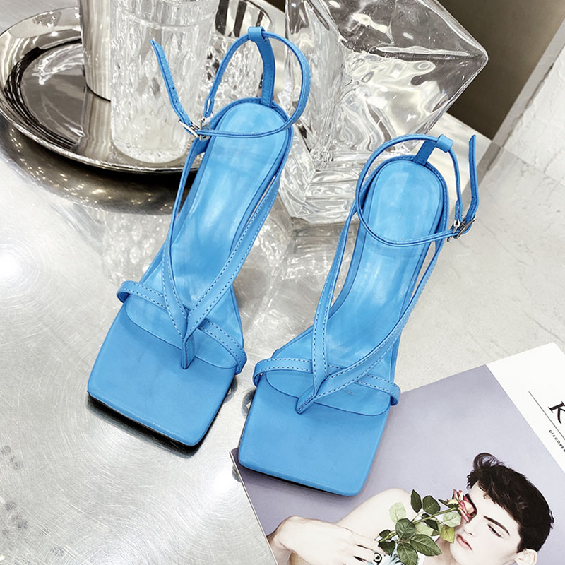 Gladiator Sandals High Heels Sandal Shoes Fashion Brand Strap Flip Flops Sexy Thin High Heel Pumps Square Toe Shoes Ladies Shoes
