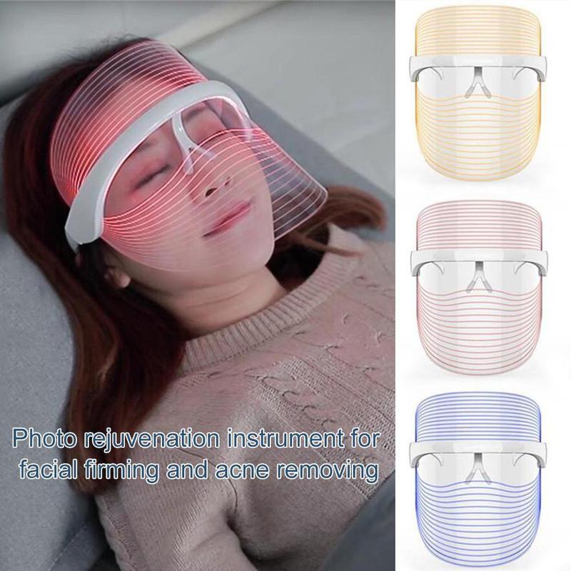 3colors Led Light Therapy Face Mask Household Mask Instrument Photon Skin Rejuvenation Firming Acne Moisturizing Tool|LED Mask|   - AliExpress
