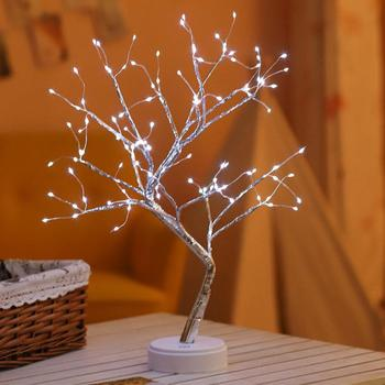 PC LED Night Light Tree Night Light LED USB Table Lamp Decoration Gift Home Festival Colorful Touch Switch Creative