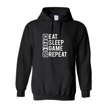 Chemise Gamer manger sommeil jeu répéter manches longues polaire hip hop streetwear sweat à capuche pour homme sweat drôle pull à capuche dautomne homme vêtements