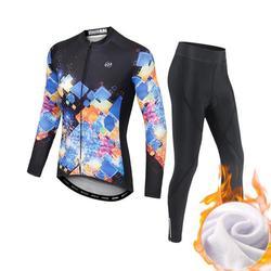 ที่มีสีสันชิ้นชุดฤดูใบไม้ร่วงฤดูหนาว Thicken จักรยานเสื้อผ้าขี่ด้านบนและกางเกงฤดูร้อนหญิงชุ...